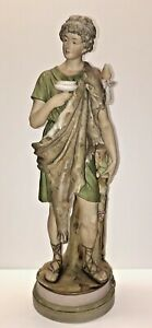 Large 14 Tall Antique Royal Dux Bohemian Porcelain Mythological Statue