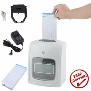 Employee Attendance Punch Time Clock Payroll Recorder Lcd Display W 50 Cards My