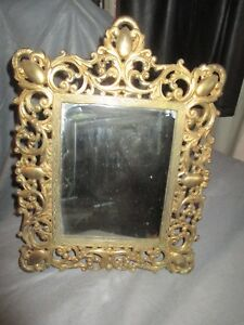 Vintage Brass Framed Table Mirror