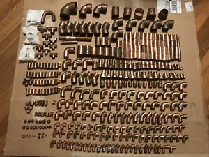 Lot Of 370 Copper Fittings Elbows Couplings Etc Mueller Nibco Elkhart 27 Lbs