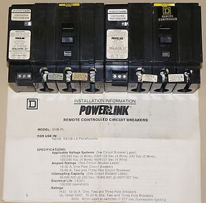 1 New Square D Power Link Remote Breaker Ehb 34020pl 3 Pole 20amp 277v