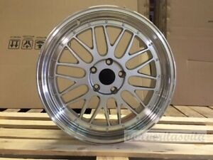 19 Lm Lemans Style Staggered Wheels Rims Silver Mesh Lip 5x114 3 5x4 5
