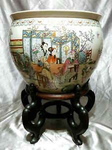 Antique Chinese Famille Rose Porcelain Fish Bowl Qing Dynasty Marked With Stand