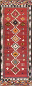 Fine Vegetable Dye Semi Antique Tribal 4x10 Wool Handmade Kilim Qashqai Rug Red