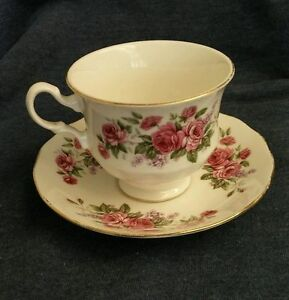 Queen Anne Red Roses Violet Lilacs Bone China Tea Cup Saucer 8544 1960 S