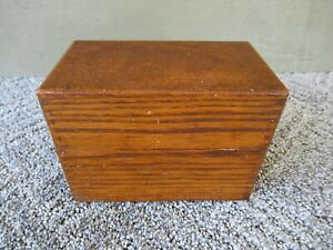 Antique File Box Holds 3 X5 Cards Vtg Primitive Desk Office Recipe Oak Wood