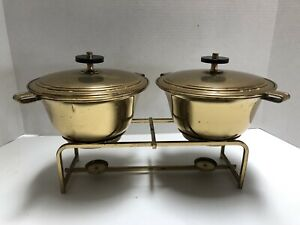 Dorlyn Silversmiths Tommi Parzinger Mcm Double Brass Chafing Dish Set 7 Pcs