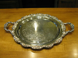 Vintage International Silver Co Tray Ornate Edges And Handles Marked On Back