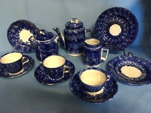 Antique Child S Tea Set Dishes Blue Sponged Staffordshire Porcelain 12 Pcs 2