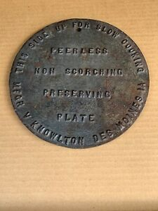 Vtg Antique Cast Iron Wood Stove Burner Top Plate Cover Disc 7 Preserving Slow