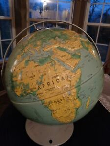 1996 Nystrom Sculptural Relief World Globe 16 School Edition Map 39 47