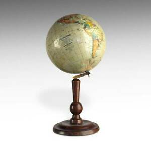 Terrestrial Globe Kokai Lajos Hungary Paper Gores Plaster Wood Early 20th C