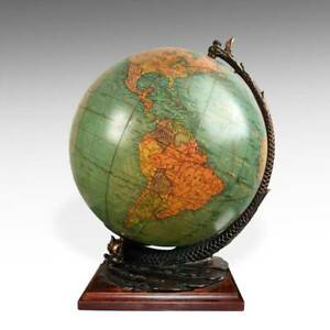 Cram Terrestrial Globe Illuminated Glass Cast Iron Wood Indianapolis C1950