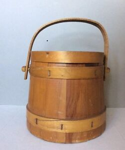 Primitive Vintage Wooden Painted Firkin Sugar Bucket Lidded 10 5 H W Handle