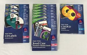 Avery Jewel Case Disc Labels Inserts Lot Of 10 Packs Matte White 6692 6693 8692