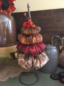 Country Primitive Pumpkin Stack Fall Halloween Nodder Shelf Sitter Grubby