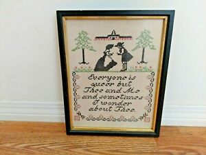 Antique Framed Sampler Cross Stitch Embroidery Needlework Queer But Thee