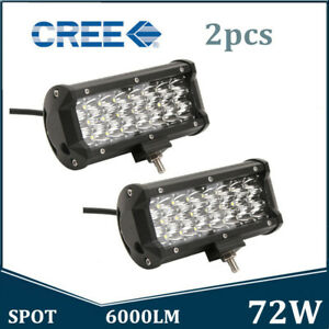 2x 5inch 72w Led Work Light Bar Driving Lamp Truck Spot Offroad 7d Tri Row 4wd