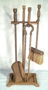Heavy Cast Iron Arts Crafts Mission Fireplace Tool Set With Stand