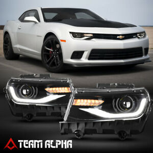 Fits 2014 2015 Chevy Camaro Led Drl Sequential Signal Black Projector Headlight