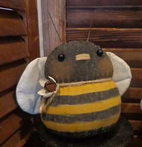 One Primitive Roly Poly Bumble Bee Doll Cupboard Tuck Bowl Filler Summer Daisy