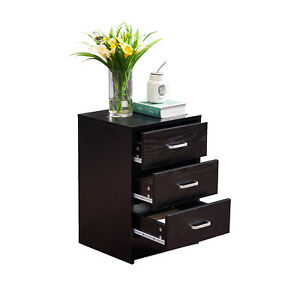 File Cabinet Table 3 Drawer File Storage For Home Office Black