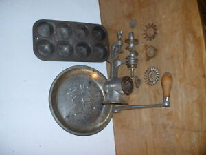 Antique Universal 1 Meat Grinder Steel Pie Pan And Cupcake Tin