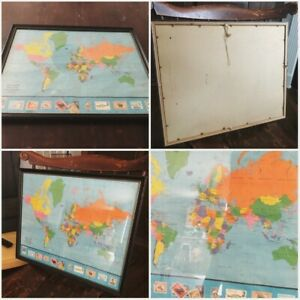 Vintage Ports Of Call World Map Framed 1969 17x21in