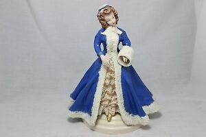 Porcelain Lady Figurine With Lace Dress And Blue Overcoat Hat And Muffler