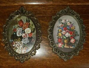 2 Vintage Action Brass Ornate Oval Picture Frames Made In Italy
