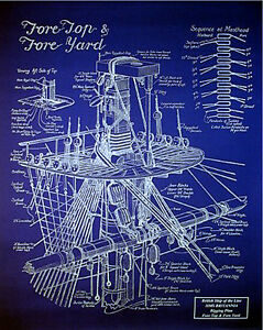 Ships Plan Vintage Mast Rigging Blueprint Drawing 20 X24 012
