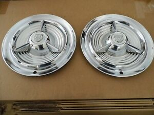 Pair Of 1953 1954 1955 Oldsmobile Fiesta 98 Super 88 Spinner Hubcaps Wheelcovers