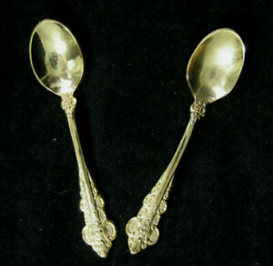 Gold Plate Demitasse Baby Infant Spoon Korea 4 Inch Ornate French Provincial Set