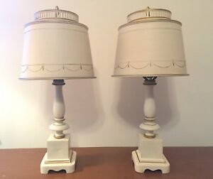 Pair Mid Century Levinson Tole Desk Table Lamps Lights Original Shade Ivory Gold