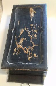 Writing Desk Japanese Black Gold Lacquer Slope Writing Box Cranes Antique