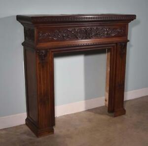 Antique French Fireplace Surround Mantel In Walnut