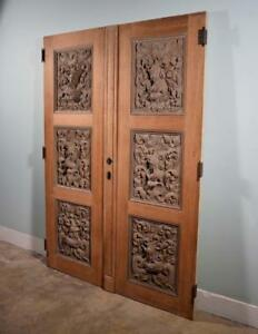 87 Tall Pair Of French Antique Doors Highly Carved W Soldiers And Dolphins