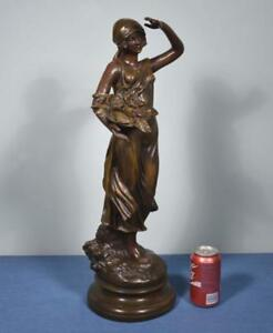 Antique French Statue Of A Beautiful Woman With Flowers Terracotta Figurine