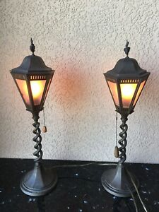 Pr Bronze Brass Twisted Barley Table Mantle Or Outdoor Lamps Stamped England