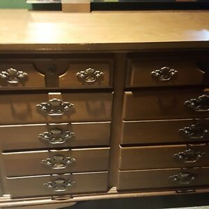 Vintage Mid Century Solid Wood 9 Drawer Dresser With Mirror Antique