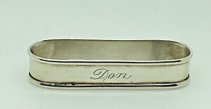 Lunt Sterling Silver Napkin Ring Don Name Monogram Personalized Oval Holder