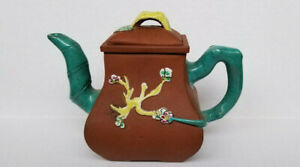 Antique Chinese Yixing Zisha Clay Teapot With Colorful Glaze 5 1 4 Tall