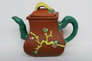 Antique Chinese Yixing Zisha Clay Teapot With Colorful Glaze 4 1 2 Tall