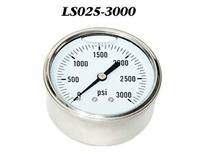 New Hydraulic Liquid Filled Pressure Gauge 0 3000 Psi 1 4 Npt Cbm 2 5 Face