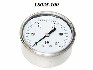 New Hydraulic Liquid Filled Pressure Gauge 0 100 Psi 1 4 Npt Cbm 2 5 Face