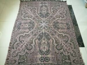 Antique French Paisley Kashmir Square Piano Shawl Wool Size 72 X54 Table Cloth