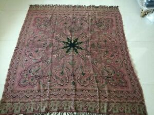Antique French Paisley Kashmir Square Piano Shawl Wool Size 70 X58 Excellent