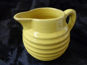 Sale Vintage Yellow Beehive Pitcher Red Pottery Ring Ware Jug Handmade Mc