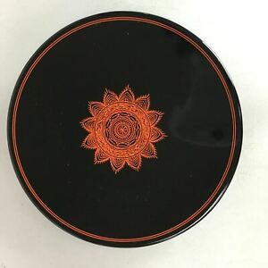 Japanese Lacquer Ware Plate Vtg Round Wood Obon Black Lotus Flower Lw975