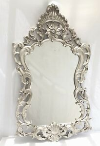 Vtg French Carved Baroque Roccoco Silver Gilt Entry Hall Wall Mirror H 56 In